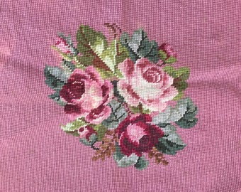 Beautiful Vintage Needlepoint Pillow front with Pink Roses