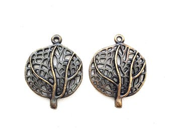 diy jewelry supply--new stock antiqued silver and gold tone metal open work leaf charms--matching lot of 2