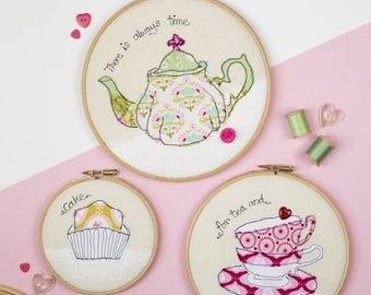 ON SALE Tea time art embroidery - Cake art - Teapot art - Embroidery hoop art - Tea textile art - kitchen art - Cake gift - Food gift - Teat