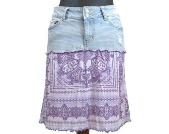 Hippie Skirt, Upcycled Clothing, Distressed Denim Skirt, Boho Skirt, Purple Skirt, OOAK Denim Skirt, Gypsy Skirt, Refashioned Denim Skirt