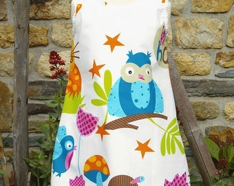 Cotton summer dress printed owl and rabbit