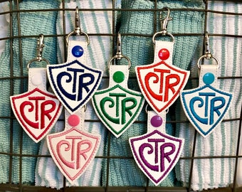 CTR keychain, CTR backpack charm, CTR key holder, key chain ctr, choose the right keychain, baptism gift