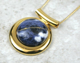 Kintsugi (kintsukuroi) sodalite stone pendant with gold repair in a gold plated setting on gold chain - OOAK