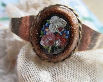 Antique Victorian Gold Fill Mosaic Bangle Bracelet - Victorian Gold Fill - Romantic Floral Jewelry
