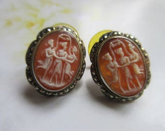 Vintage Silver Three Graces Cameo Earrings - Sterling Marcasite Earrings - Carved Shell cameo Jewelry - Romantic Vintage - Pierced Earrings