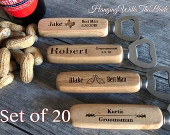 Set of 20 Personalized Bottle Opener, Groomsmen Gift, Wedding Gift, Engraved Wood opener, Custom Bottle Opener, Christmas gifts