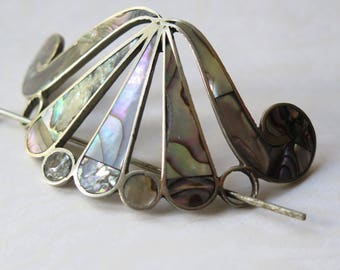 Vintage Mexican Abalone Shell Silver Hair Barrette Bun Ponytail Holder Inlay Made in Mexico 1950s Hair Accessory Hairpiece