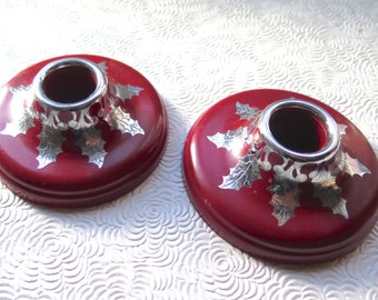 Red Art Deco Silver Overlay Holly Leaves Harvite Candle Holders Pair 1930s Bakelite Type Material Christmas Candle Holders