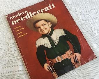 Modern Needlecraft Magazine Fall 1951 Issue / Vintage 1950s Knit, Crochet, and Tatting Patterns / 1950s Fashion  Illustrations