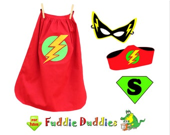 Toddler Sewing Pattern Superhero Cape Pattern, Childrens Costume Pattern. pdf INSTANT DOWNLOAD. Mask and Headband. Iron-on Appliques. Johnny