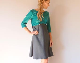 Emerald end grey dress