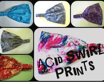 Acid Swirl Wide Headband - by FreCkLes GarDeN – Dreadlock Gypsy Band, Yoga Headwrap Doorag Bandana Kitchenwear, Festival Style, 420