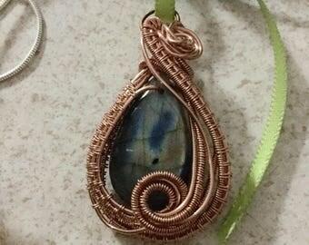 Wire Wrapped and Woven Copper Laboradite Pendant