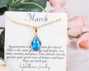 March Blue Aqua birthstone, Gold Teardrop Necklace, Aquamarine Gold Necklace, March Birthstone Jewelry Personalised Bridesmaid Gold Necklace