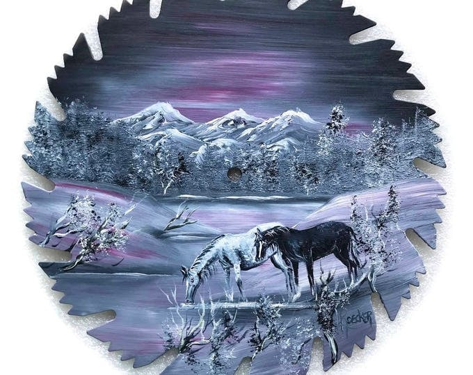 Hand Painted Saw Blade Mountain Gray and Mauve Winter Wild Mustanges