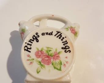 "Alarm Clock Shaped ""Rings and Things"" Vintage Porcelain Container"
