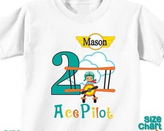 SALE Personalized Ace Pilot African American Birthday Party Shirt T-shirt Bodysuit Pilot Aviator Airplane Bi-plane Birthday Pretend Dress Up