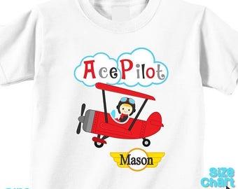 SALE Personalized Ace Pilot Blonde Birthday Party Shirt T-shirt Bodysuit Pilot Aviator Airplane Bi-plane Birthday Pretend Dress Up