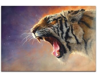 Expressionist Wall Art 'Fear Me' by Ben Judd - Wildlife Decor Contemporary Tiger Artwork on Metal or Plexiglass