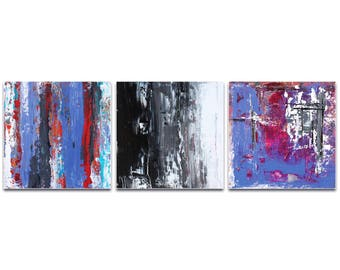 Abstract Wall Art 'Urban Triptych 4 Large' by Celeste Reiter - Urban Decor Contemporary Color Layers Artwork on Metal or Plexiglass