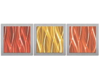 Red, Gold & Orange Wall Art 'Warm Essence' - 38x12 in. - Warm Color Modern Artwork. Simple, Contemporary Metal Art Design - Warm Metal Art
