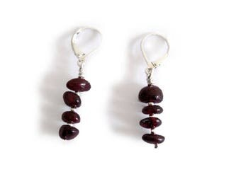 Modern Chic Simple Elegant Sterling Silver Purple Garnet Dangle Earrings