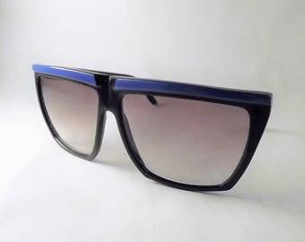 Big Black Sunglasses, Mod Sunglasses, Womens Large Sunglasses, Vintage Blue Sunglasses, Retro Sunglasses, Square Sunglasses, Funky Glasses