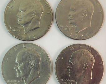 1971 & 1972 1974 1976 Eisenhower Silver Dollar, Collectible Coins, Set of 4 Dollar Coin, Silver One Dollar Coin, Bicentennial President Coin