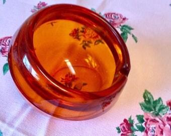 Vintage Viking Art Glass Ashtray Orange