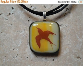 Christmas in July Sale Swallow Pendant -Fused Glass - BHS01216