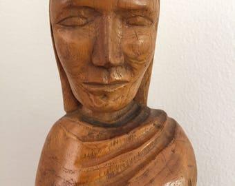 Vintage Carved Wood Folk Art Statue