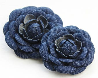 Denim fabric camellia brooch, denim flower pin, jeans flower, denim wedding, denim lapel pin