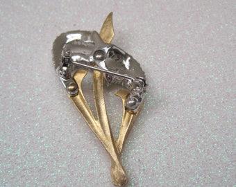 Rhinestone And Gold Ornate Brooch, Vintage Brooch
