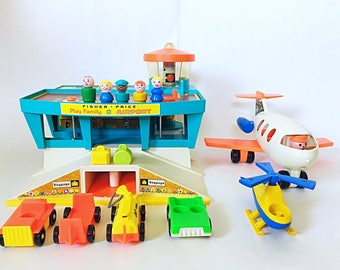 Vintage Fisher Price Play Family Airport #996, Little People With Airplane Jet, Jetport, 1970s Toy, Retro Toys