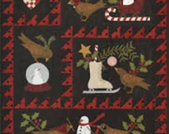 Berties Winter, quilt pattern, Bonnie Sullivan, 28x34, bom, Christmas, Wallhanging,sled,skates,snowmen,snowglobe, holly