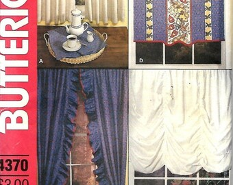 ON SALE Butterick 4370 Window Treatment Sewing Pattern, Curtains And Shades, UNCUT