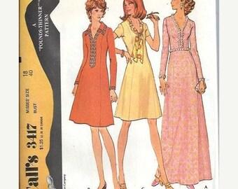 ON SALE 1970s McCalls 3417 Misses Princess Dress Pattern, Front Interest,  Size 18 UNCUT