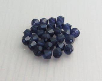25 Purple Velvet 4mm Swarovski Crystal Beads, 4mm 5328 Xilion Bicone Crystals, Dark Purple Crystal Beads, Bead Destash
