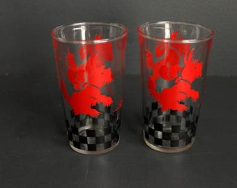 Vintage Scotty Dog Swanky Swig Glasses Set of Two Red Scottish Terrier Large Juice Glass