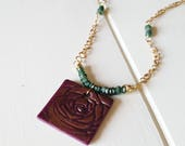 Gilded Rose Necklace, Purple Rose Necklace, gemstone necklace, Ready to Ship