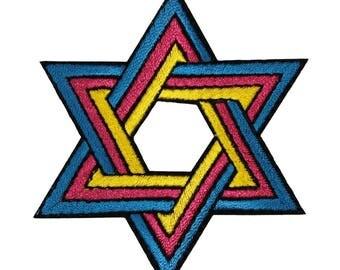 ID 8261 Jewish Star of David Shield Patch Hanukkah Embroidered Iron On Applique