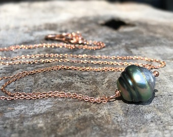 Tahitian Pearl Pendant Necklace - 14k Rose Gold Filled - Single Genuine Baroque Tahitian Pearl - Multicolor Saltwater Pearl