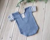 Neugeborenen Foto PROP Spielanzug, blau gestreift Kurzarm - sofort lieferbar