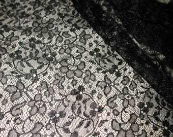 """No. 100 Antique Black Silk Chantilly Lace; Single Scallop; Cut Top; 2 Yds and 13"""" x 20"""""""
