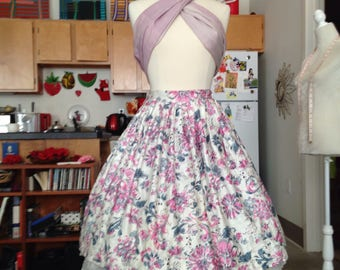 Pink floral novelty full skirt medium