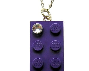 ON SALE Purple LEGO (R) brick 2x4 with a Diamond color Swarovski crystal on a Silver/Gold plated trace chain or on a Purple ballchain