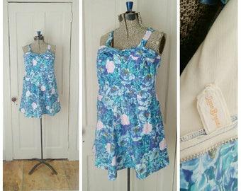 Our Island 1950s Lane Bryant Aqua/Blue/Purple/Green Rose Print Cotton Playsuit/Swimdress/Bustier/Mini Dress