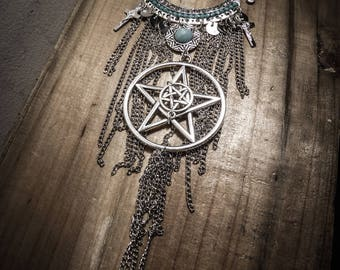 Necklace chains silver double pentagram ♰666 Boho Girl 666♰