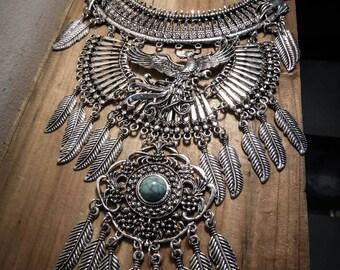 Necklace silver feather bib steampunk phoenix Harry Potter ♰Griffindor♰ maxi