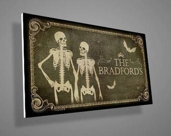 Skeletons Front Door Sign,Family Name Sign,custom family name,Welcome Sign,door sign,family sign,gothic,skull,skeleton,housewarming